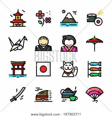 Thin line Japan icons set, Japanese Culture outline logos vector illustration