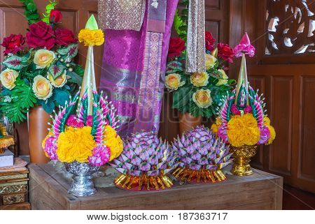 Closeup To Beautiful Thai Rice Offering On Wooden Worship Pedestal