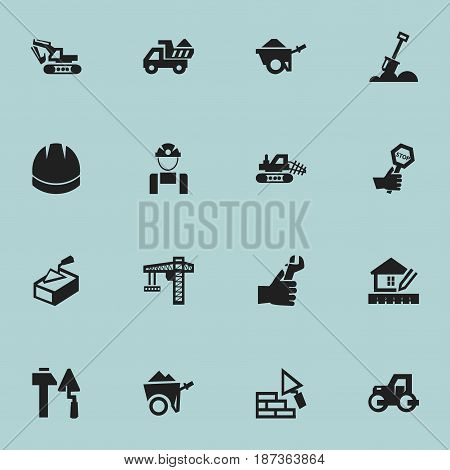 Set Of 16 Editable Building Icons. Includes Symbols Such As Home Scheduling, Mule, Excavation Machine And More. Can Be Used For Web, Mobile, UI And Infographic Design.