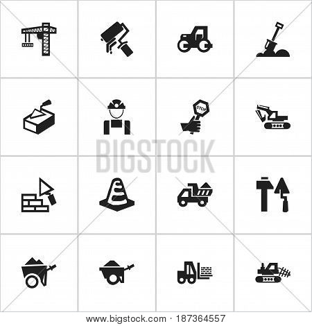 Set Of 16 Editable Structure Icons. Includes Symbols Such As Scrub, Mule, Excavation Machine And More. Can Be Used For Web, Mobile, UI And Infographic Design.