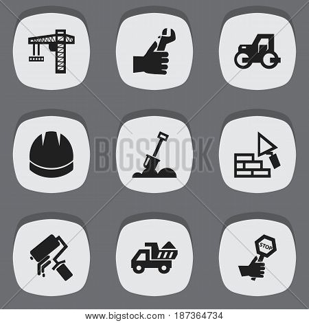Set Of 9 Editable Building Icons. Includes Symbols Such As Lifting Equipment, Scrub, Camion And More. Can Be Used For Web, Mobile, UI And Infographic Design.