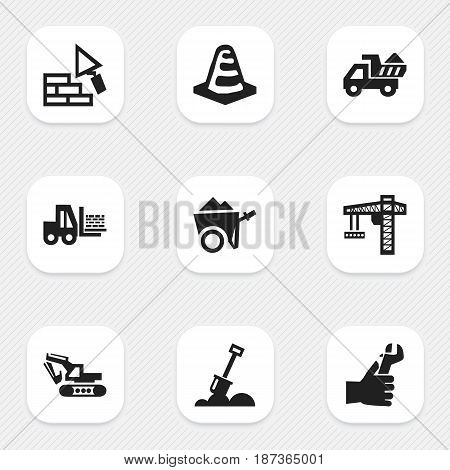 Set Of 9 Editable Building Icons. Includes Symbols Such As Hands , Excavation Machine , Facing. Can Be Used For Web, Mobile, UI And Infographic Design.