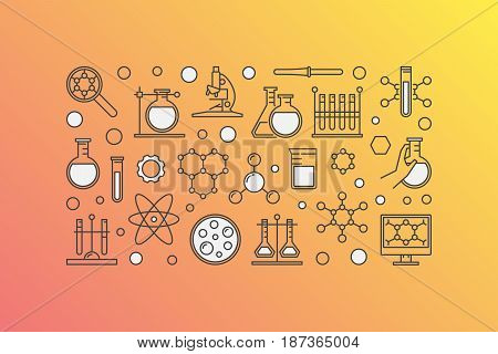 Colorful chemistry lab illustration - vector science and experiment modern background made with linear icons
