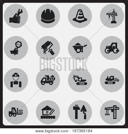 Set Of 16 Editable Building Icons. Includes Symbols Such As Camion, Employee, Notice Object And More. Can Be Used For Web, Mobile, UI And Infographic Design.