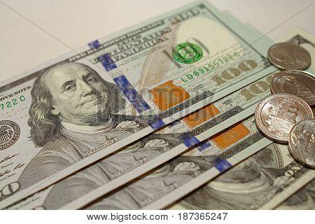 Money American dollar bills on white background