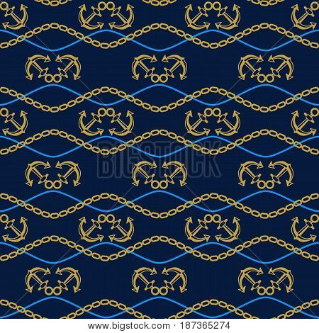 Seamless pattern with anchors and chains. Ongoing stripes background of marine theme golden and blue color. Vector illustration