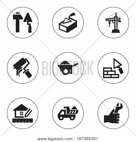 Set Of 9 Editable Construction Icons. Includes Symbols Such As Trolley, Elevator, Scrub And More. Can Be Used For Web, Mobile, UI And Infographic Design.