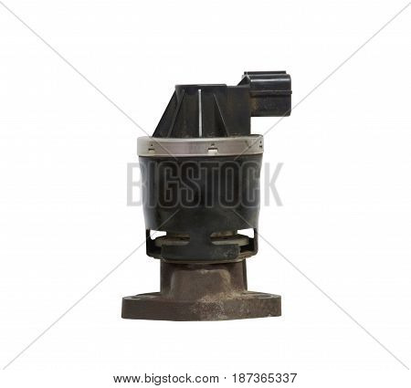 Old Exhaust gas recirculation isolated on white background with clipping path.