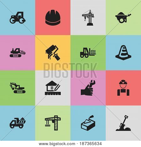 Set Of 16 Editable Building Icons. Includes Symbols Such As Spatula, Employee, Home Scheduling And More. Can Be Used For Web, Mobile, UI And Infographic Design.