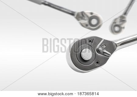 ratchet spanner wrench on white background with copy space and clipping path.
