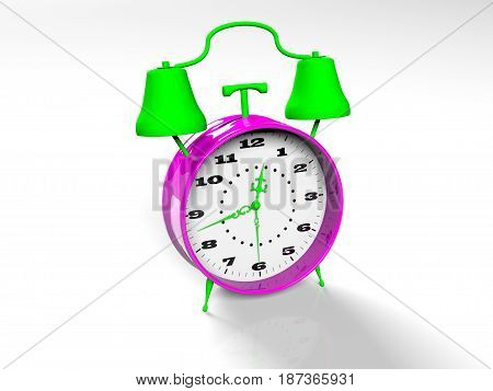 retro alarm clock isolated on white background 3D rendered