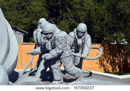 Monument to the dead firefighters during fire extinguishing at the Chernobyl nuclear power station.May 19, 2017.Chernobyl.Kiev region.Ukraine