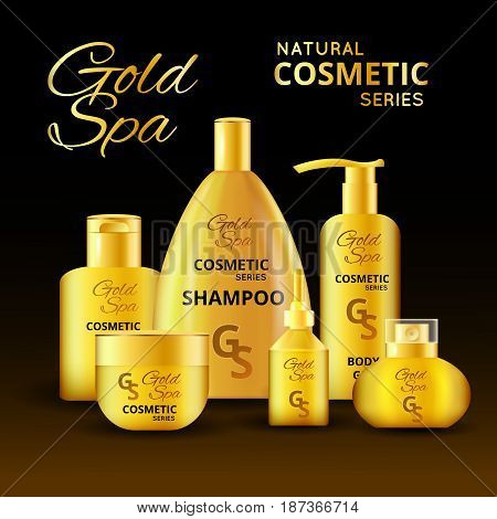 Luxury cosmetic products design with  typographic lettering at golden packaging on dark background vector illustration
