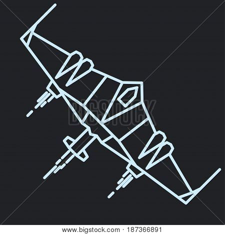Spaceship in space outline, linear flying rocket, spacecraft cosmos adventure graphic design. vector