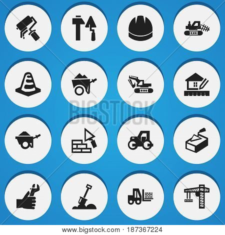 Set Of 16 Editable Building Icons. Includes Symbols Such As Caterpillar, Home Scheduling, Handcart. Can Be Used For Web, Mobile, UI And Infographic Design.