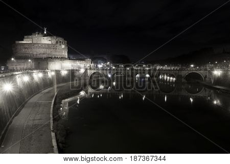 Ponte and Castle Sant Angelo, bridge in Rome. Italy. Tiber river. Black and white. Once Aelian Bridge or Pons Aelius, meaning the Bridge of Hadrian, is a Roman bridge.