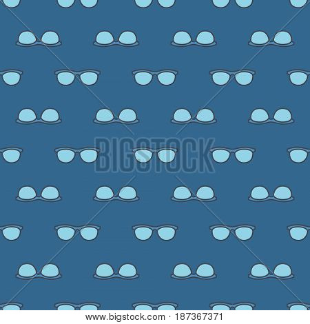 Blue specs pattern. Vector seamless texture made with eyeglasses