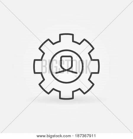 Man in gear line icon. Vector human resources concept sign or design element in thin line style