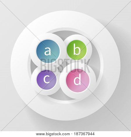 Abstract vector background of four circles with different fillings inside the fifth, made of paper. Conceptual design element that can be used in the food industry, menu, infographic, logo, cover