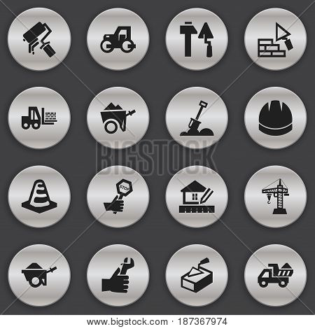 Set Of 16 Editable Structure Icons. Includes Symbols Such As Handcart , Endurance , Caterpillar. Can Be Used For Web, Mobile, UI And Infographic Design.
