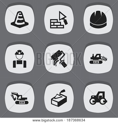 Set Of 9 Editable Structure Icons. Includes Symbols Such As Excavation Machine, Employee, Mule And More. Can Be Used For Web, Mobile, UI And Infographic Design.