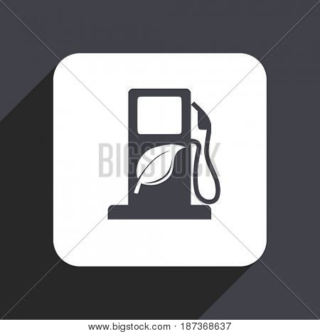 Biofuel flat design web icon isolated on gray background