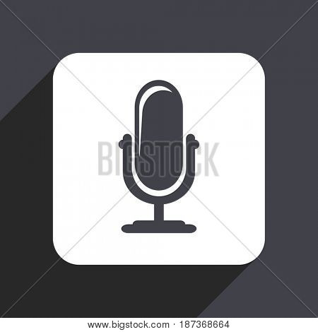 Microphone flat design web icon isolated on gray background