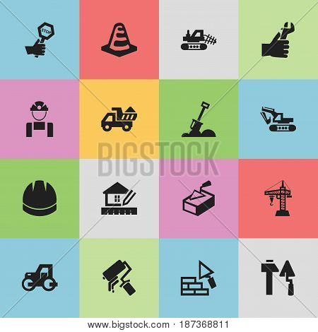 Set Of 16 Editable Construction Icons. Includes Symbols Such As Employee, Caterpillar, Scrub And More. Can Be Used For Web, Mobile, UI And Infographic Design.