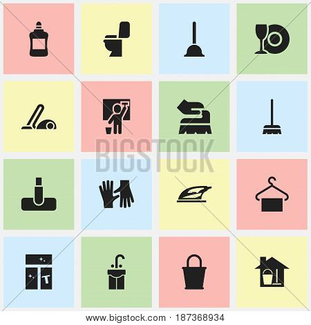 Set Of 16 Editable Cleaning Icons. Includes Symbols Such As Plate, Washing Glass, Gauntlet And More. Can Be Used For Web, Mobile, UI And Infographic Design.