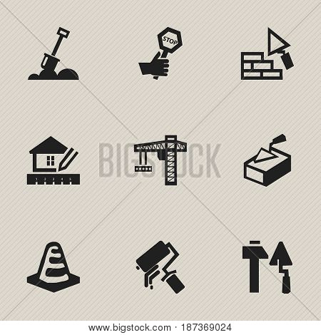 Set Of 9 Editable Structure Icons. Includes Symbols Such As Facing, Construction Tools, Endurance And More. Can Be Used For Web, Mobile, UI And Infographic Design.