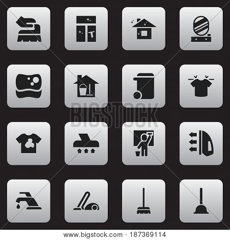 Set Of 16 Editable Hygiene Icons. Includes Symbols Such As Rubber Drain, Unclean Blouse, Clean T-Shirt And More. Can Be Used For Web, Mobile, UI And Infographic Design.