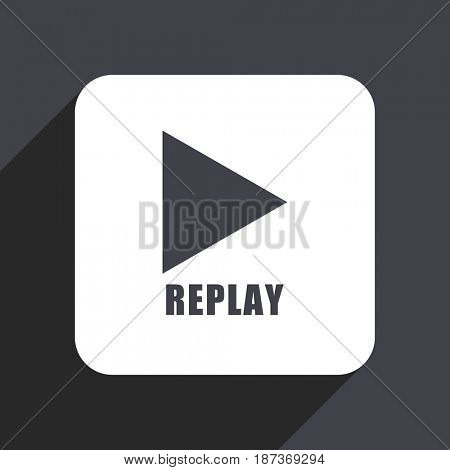 Replay flat design web icon isolated on gray background
