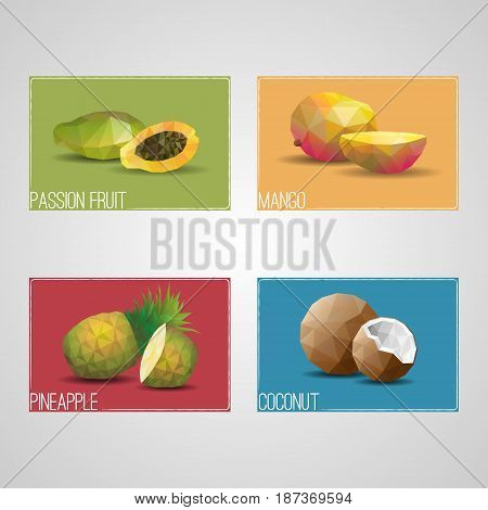 Tropical organic fruits cards with passionfruit mango pineapple and coconut in polygonal style isolated vector illustration