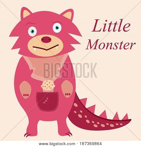 Cute pink monster with fangs and muffin
