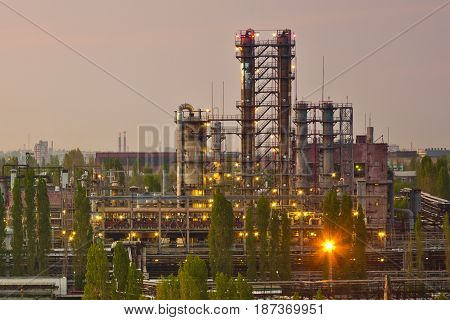 Evening view from the roof to industrial area of Voronezh synthetic rubber plant