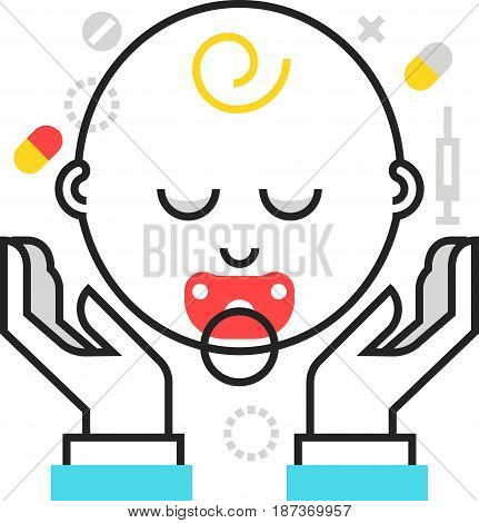 Color Box Icon, Child Protection Illustration, Icon