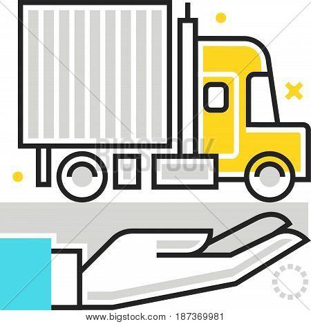 Color Box Icon, Truck Protection Illustration, Icon