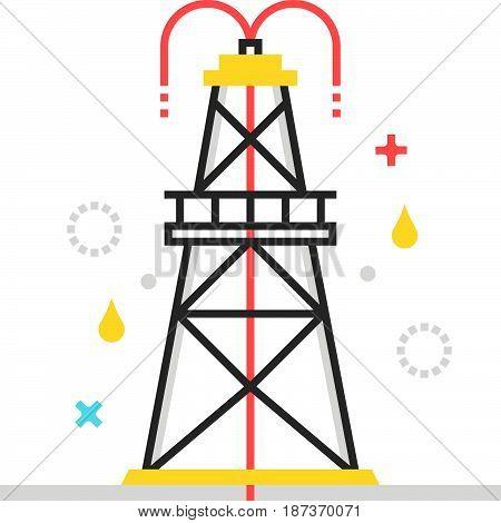 Color Box Icon, Drilling Rig Illustration, Icon