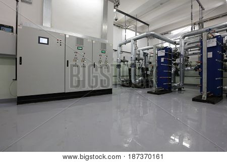ST. PETERSBURG, RUSSIA - DECEMBER 16, 2016: Interior of one of the automated central heating points. There is 219 central heating points in the city, 60 of which is automated