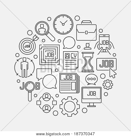 Job search round linear illustration - vector find a job concept symbol in thin line style