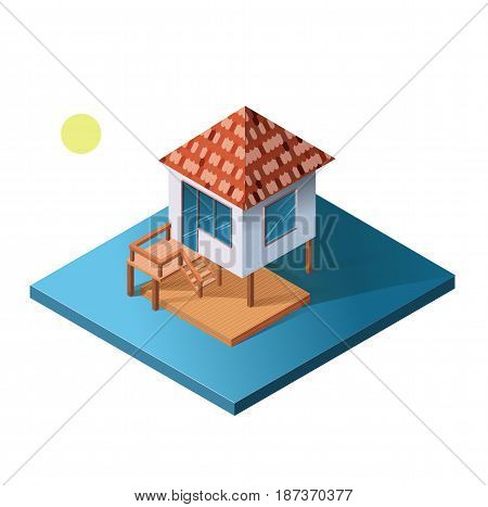 Isometric holiday apartment, bungalow on water. The poster for sale the real estate, construction and leased concept and billboard.  Vector Illustration