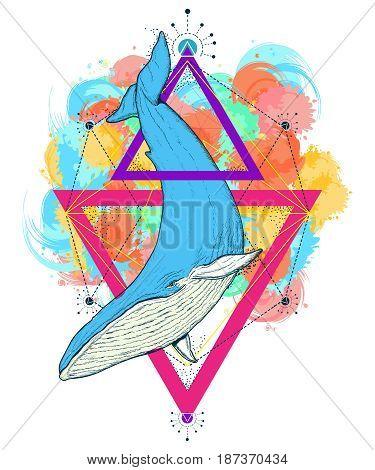 Whale color tattoo geometric style. Travel outdoors symbol. Mystical symbol of adventure dreams t-shirt design Creative geometric whale tattoo art