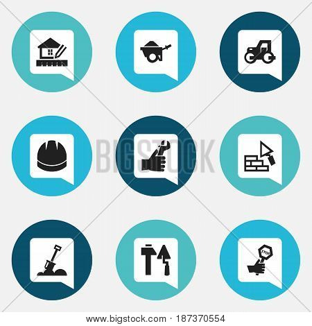 Set Of 9 Editable Building Icons. Includes Symbols Such As Home Scheduling, Oar , Hands. Can Be Used For Web, Mobile, UI And Infographic Design.