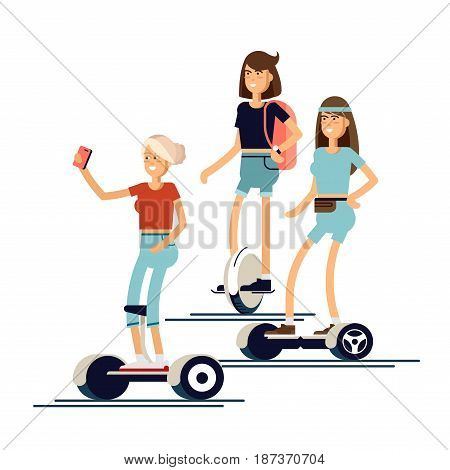Set of active young woman with electric scooter on new modern technology hoverboard, girl self balance wheel transport gyroscooter ride the street. Vector flat illustrator