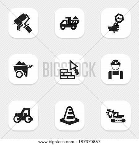 Set Of 9 Editable Structure Icons. Includes Symbols Such As Excavation Machine, Notice Object, Facing And More. Can Be Used For Web, Mobile, UI And Infographic Design.