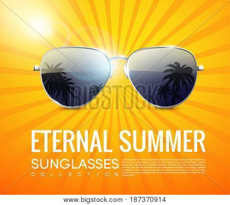 Realistic fashionable aviator sunglasses poster with tropical beach reflection in glasses on shiny radial background vector illustration