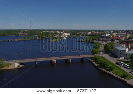VYBORG, LENINGRAD OBLAST, RUSSIA - JUNE 6, 2015: Cityscape viewed from the St. Olav tower. Before 1940, Vyborg was the second largest city of Finland