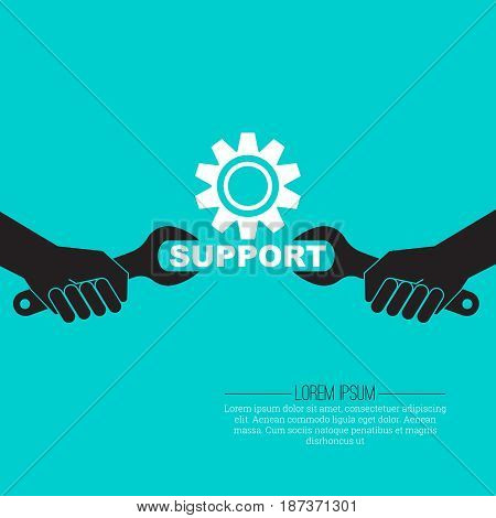 Vector illustration with the concept of technical support. Stylized hands with a spanner. Technical service.Flat design.