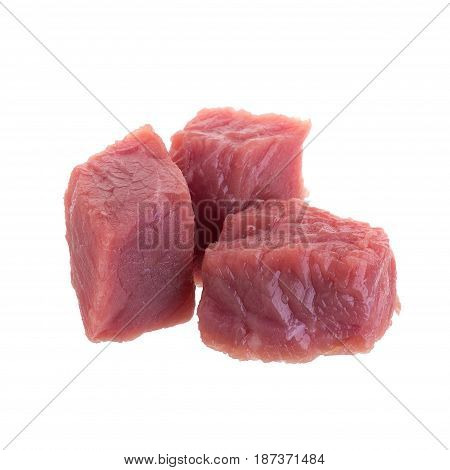 Fresh Raw Beef Cubes Isolated On White Background