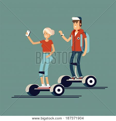 Young man and woman riding on electric gyroscooters. Vector flat illustration of modern device gyroscooters. Gyroscooters urban personal transport. A woman makes selfies